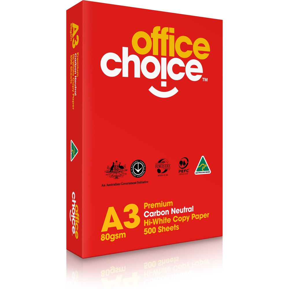 OFFICE CHOICE COPY PAPER Premium A3 80gsm White 500 Sheets