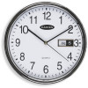 CARVEN WALL CLOCK 285mm With Date Silver Frame