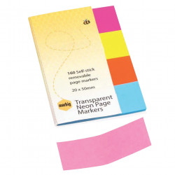 MARBIG TRANSPARENT PAGE MARKER 20x50mm 160Sht Assorted