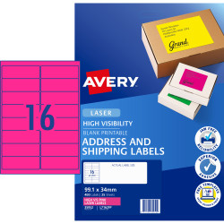AVERY L7162FP LASER LABELS 16/Sht 99.1x34mm Fluoro Pink Pack 400