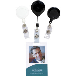 REXEL RETRACTABLE CARD HOLDER W/Strap 750mm White